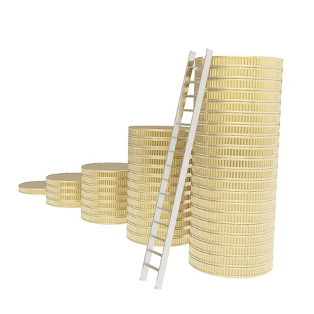 Short way to the top conception  stair ladder and stack of golden coins isolated on white background photo