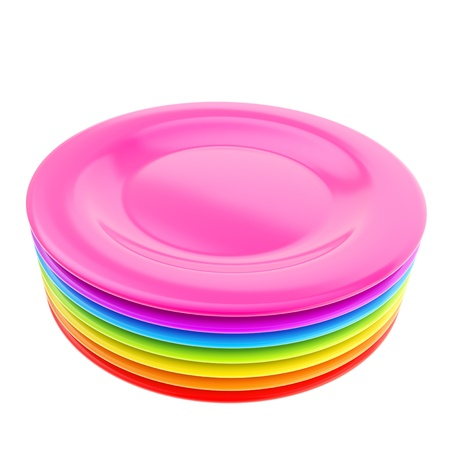 Stack of colorful rainbow colored ceramic plate dishes isolated on white background Imagens - 15971444