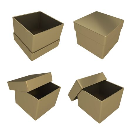 Set of four parallelogram cube shaped glossy golden gift boxes isolated on white background photo