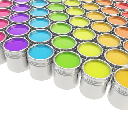 paint can: Buckets full of rainbow colored oil paint over white background Stock Photo