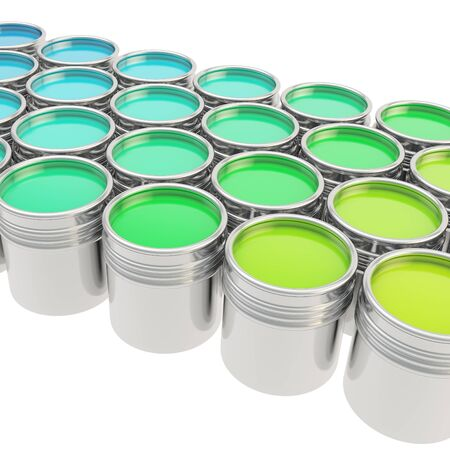Buckets full of green and blue oil paint over white background photo