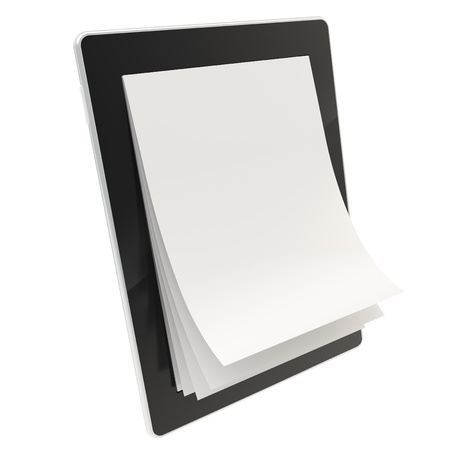 e ink: E-book reading format emblem as stylish glossy tablet pad electronic device with the real vertical oriented a4 paper pages instead of screen isolated on white background Stock Photo