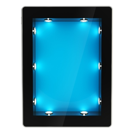 show case: Black glossy tablet pad electronic device with empty copyspace backlighted showcase as blue screen, isolated on white background