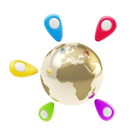 tagging: Traveling around the world  colorful geo tag emblems around golden Earth globe isolated on white background Stock Photo