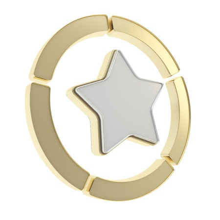 Five sector star golden emblem copyspace diagram icon isolated on white background photo