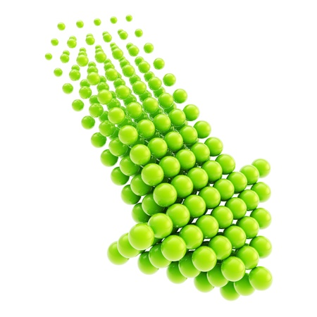 Arrow emblem green glossy icon as upload, download or direction sign, made of spheres isolated on white background Stock Photo - 15973637