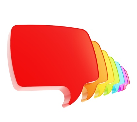 Text speech bubble rainbow colored emblem icons in a queue line isolated on white background photo