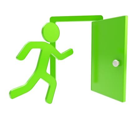 evacuacion: Salir, salida de emergencia icono dimensional emblema brillante aislado sobre fondo blanco Foto de archivo