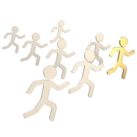 Group of symbolic human figures running for the leader, sport and leadership conception composition isolated on white background Reklamní fotografie
