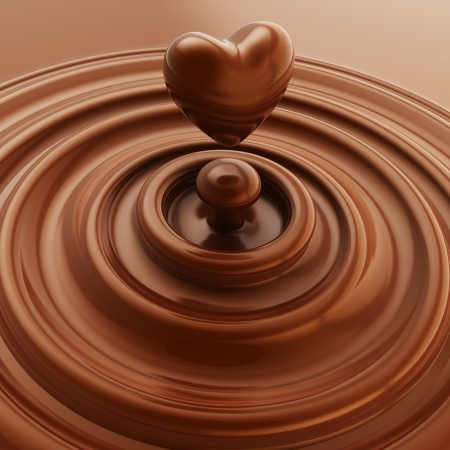 cute chocolate: Dark chocolate heart symbol as a liquid drop background illustration Stock Photo