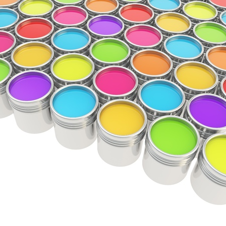 buckets: Buckets full of rainbow colored oil paint over white background Stock Photo