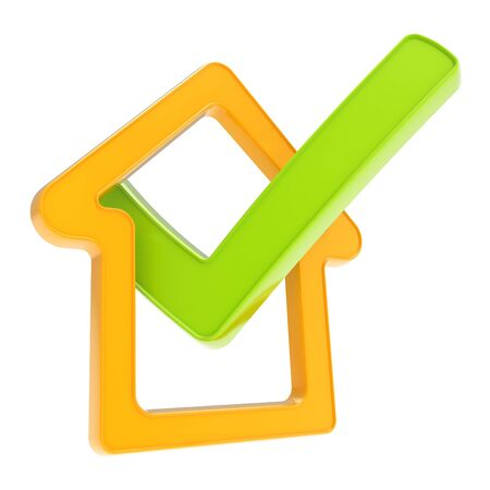 Real estate property rating  checked house glossy orange emblem with green yes tick icon inside isolated on white background photo