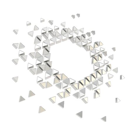 Abstract copyspace hexagon frame backdrop made of tiny glossy chrome metal triangles isolated on white background photo