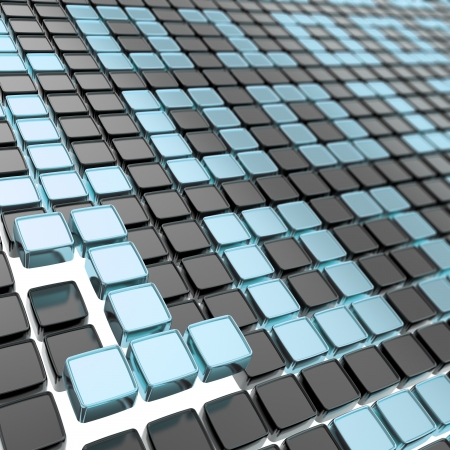 Binary technology blue metal and black background  ones and zeros made of glossy square fragment plates Stock Photo - 15973910