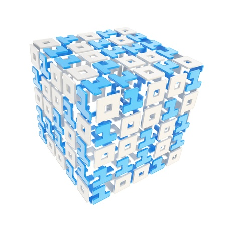 IT Technology and cybernetics  dimensional cube made of ones and zeros isolated on white Stock Photo - 15973741