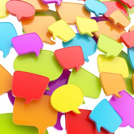 Group of colorful glossy plastic speech text bubbles randomly placed as abstract copyspace business communication background photo