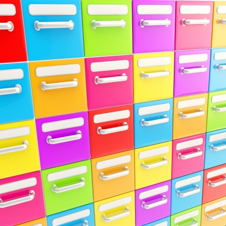 Accurate infinite rows of colorful glossy drawers as abstract business background