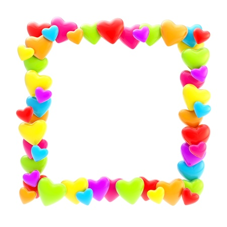 Square photo frame made of colrful cute glossy hearts isolated on white background photo