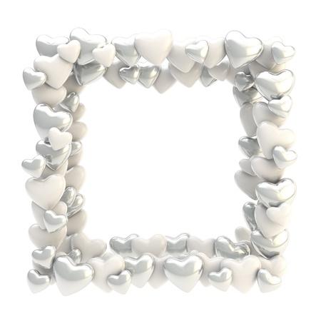 wedding photo frame: Cornice quadrata in argento cromo lucido cuori carino isolato su sfondo bianco