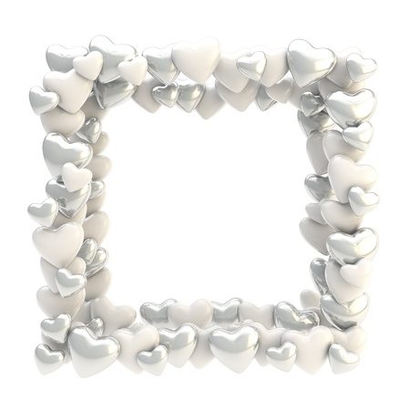 Square photo frame made of silver chrome cute glossy hearts isolated on white background photo
