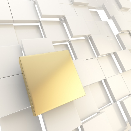 Abstract copyspace light background made of golden metal glossy square plate among white ones Stock Photo - 15973302