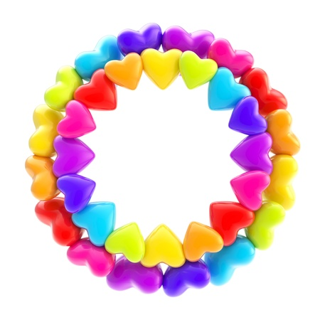 Lovely round photo picture  circle frame made of cute rainbow colored plastic glossy hearts isolated on white background