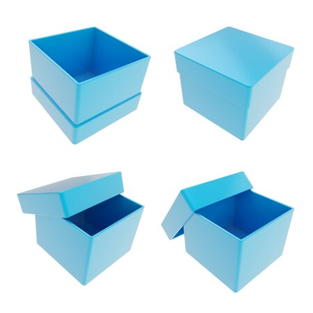 Set of four parallelogram cube shaped glossy blue gift boxes isolated on white background photo