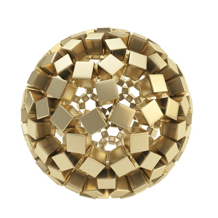 Abstract sphere composition made of golden glossy cubes isolated on white background photo