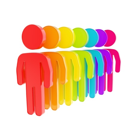 human resource: Human resource glossy emblem icon as rainbow colored figures in a row isolated on white