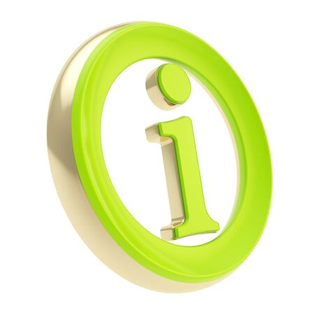 Green glossy info I letter in a golden circle as information emblem icon isolated on white Stock Photo - 15972850
