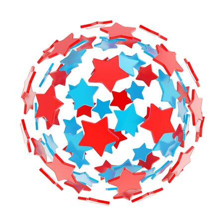 Sphere composition made of colorful glossy blue and red stars isolated on white background photo