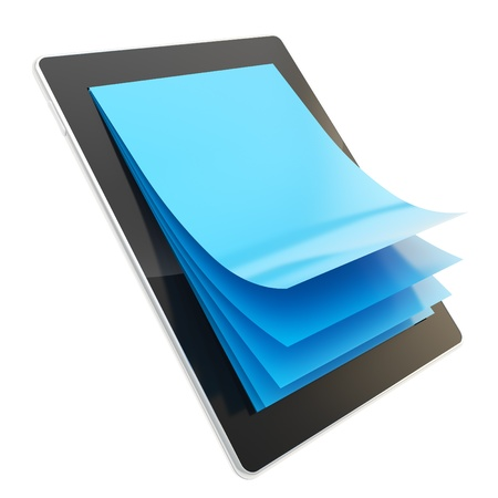 e ink: E-ink reading technology as stylish glossy tablet pad electronic device with the real vertical oriented a4 blue paper pages instead of screen isolated on white background Stock Photo