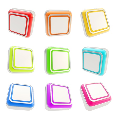 Colorful rounded corner square glossy plastic app button icons isolated on white background, set of nine Stock Photo - 15973187