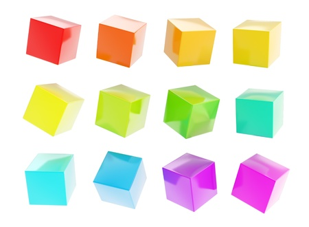 Twelve colorful glossy plastic cubes isolated on white background Stock Photo - 15972969