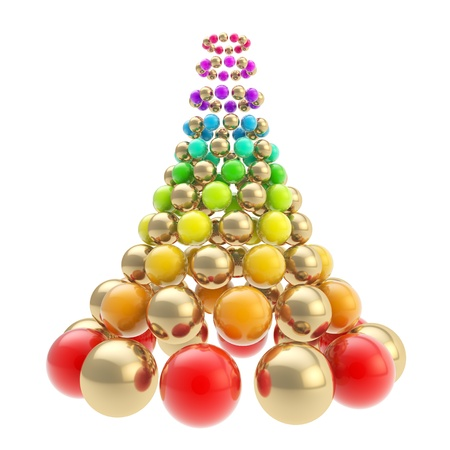 Futuristic christmas tree made of glossy spheres composition isolated on white background photo