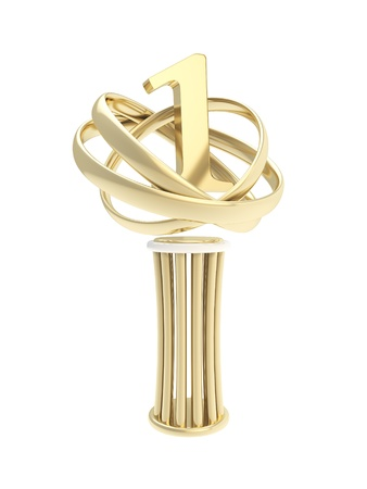 Award first place prize shiny golden metal statuette cup isolated on white background photo