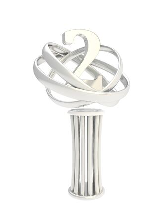 Award second place prize shiny silver metal statuette cup isolated on white background photo