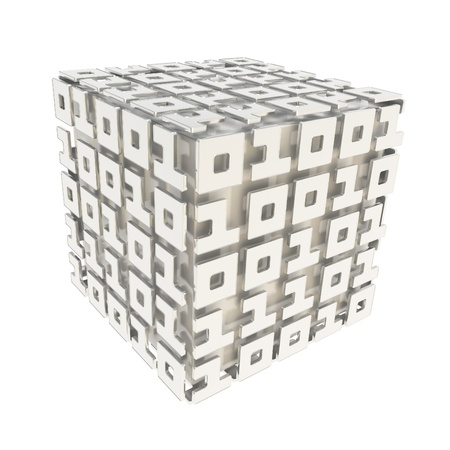 cybernetics: Computer science and cybernetics  dimensional cube made of ones and zeros isolated on white