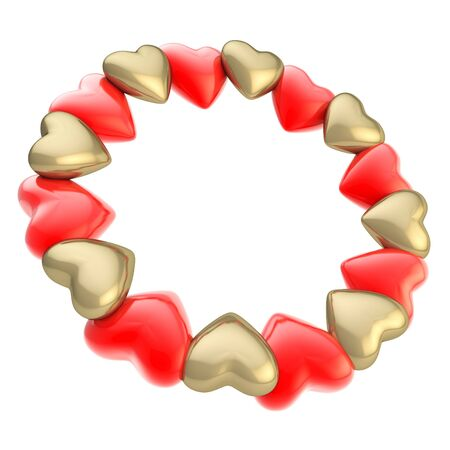 lucid: Lovely round photo picture  circle frame made of cute golden and red glossy hearts isolated on white background Stock Photo