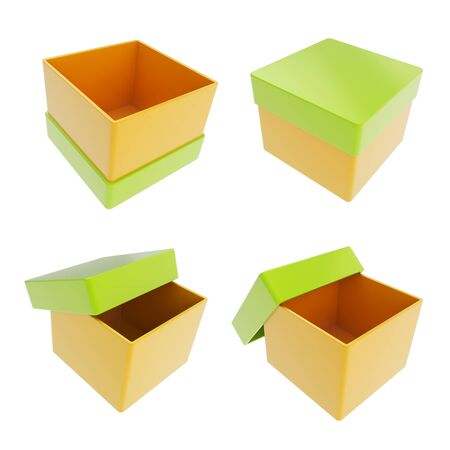 Set of four parallelogram cube shaped glossy orange and green colored gift boxes isolated on white background photo