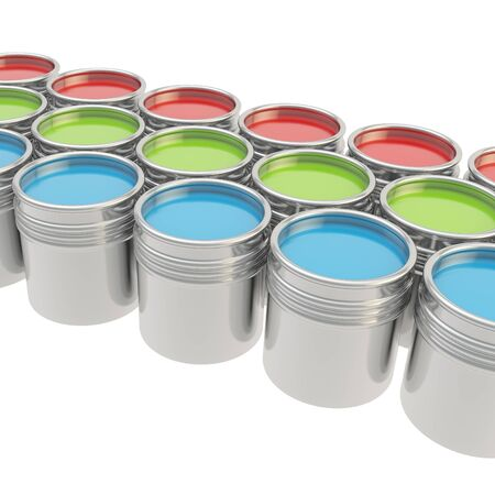 Buckets full of RGB colored paint over white background photo