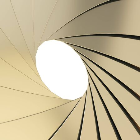 Abstract background as a golden shutter mechanism with an empty space in the center photo