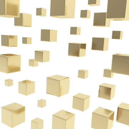 Glossy shiny golden cube composition over white background as abstract backdrop Stock Photo - 15973194