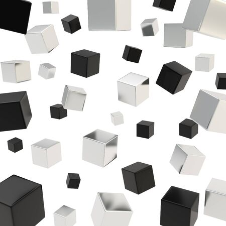 Glossy black and chrome metal cube composition over white background as abstract backdrop Stock Photo - 15973295