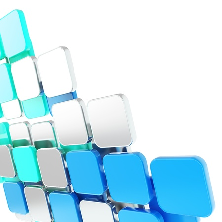 building blocks: Abstract copyspace glossy blue plate composition background over white with the space for your text