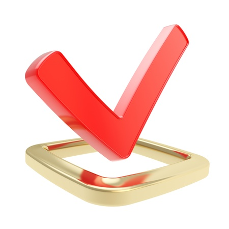 Yes check tick red glossy emblem icon over golden checkbox isolated on white background photo