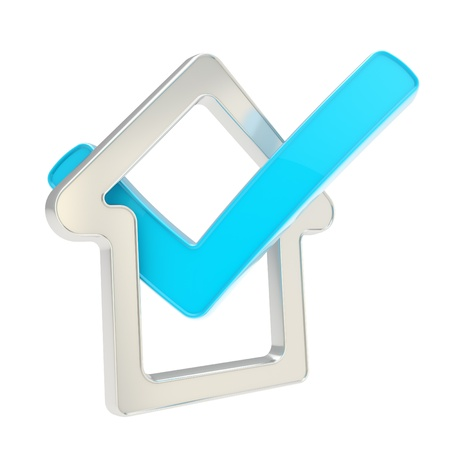 House rating  checked house glossy chrome metal emblem with blue yes tick icon inside isolated on white background