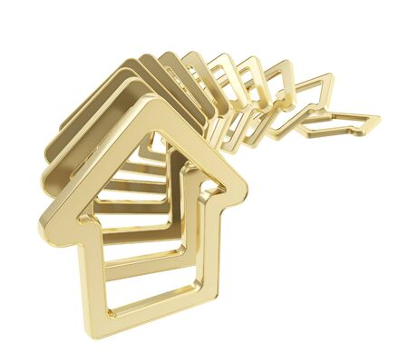 domino effect: Real estate market collapse  queue line of golden house emblems falling down as domino effect isolated on white background