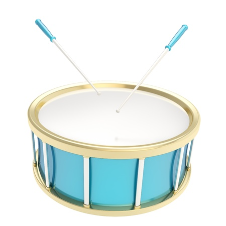Blue glossy drum barrel with sticks isolated on white background photo