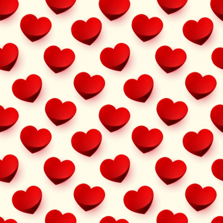 Seamless glossy red heart raster background pattern